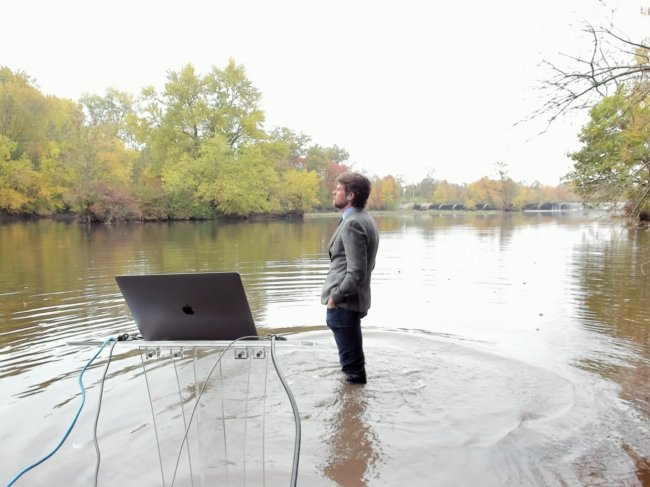Rob Pringle teaching in the lake